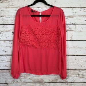 Bebe bright coral lace long sleeve top